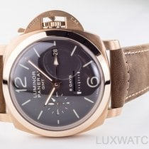 Panerai Rose gold Manual winding Brown Arabic numerals 44mm new Luminor 1950 8 Days GMT