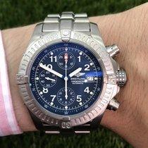 Breitling Super Avenger gebraucht 44mm Blau Chronograph Datum Titan