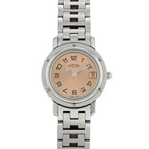 Hermès Clipper Stahl 24mm Pink Arabisch