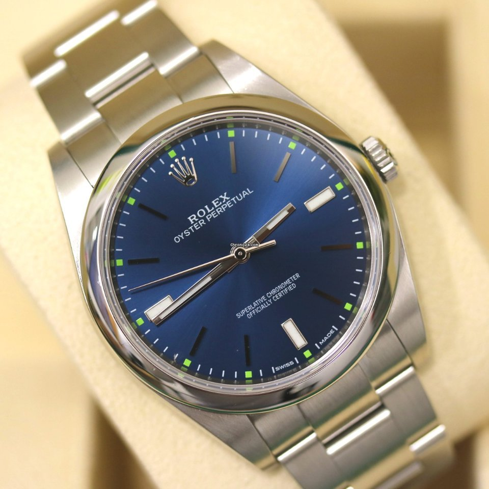 Rolex Oyster Perpetual 39, blue dial with papers