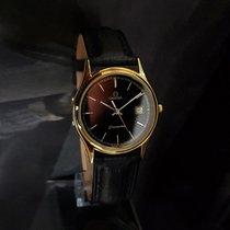 Omega Seamaster Mens 18K GP Cal 1430 Quartz black dial + Box