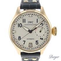 IWC Große Fliegeruhr gebraucht 46.2mm Silber Datum Krokodilleder