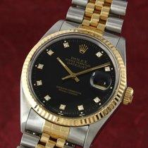 Rolex Datejust gebraucht 36mm Schwarz Datum Gold/Stahl