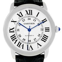 Cartier Ronde Solo Xl Silver Dial Black Strap Mens Watch W6701010