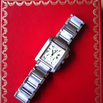 Cartier Tank Française pre-owned 30mm White Chronograph Date Perpetual calendar Steel