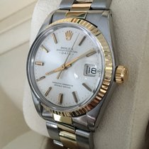 Rolex Oyster Perpetual Date Gold Steel Silver Dial 34 mm