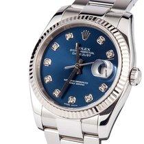 Rolex Datejust Ghiera Oro Bianco Blu Diamanti - 116234