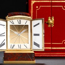 Cartier Platinum Diamond Enamel Gold HARDSTONE SHUTTER CLOCK