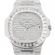 Patek Philippe Nautilus 18k White Gold With Diamond Silver...