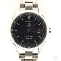 TAG Heuer Carrera Calibre 7 pre-owned 39mm Black Date Steel