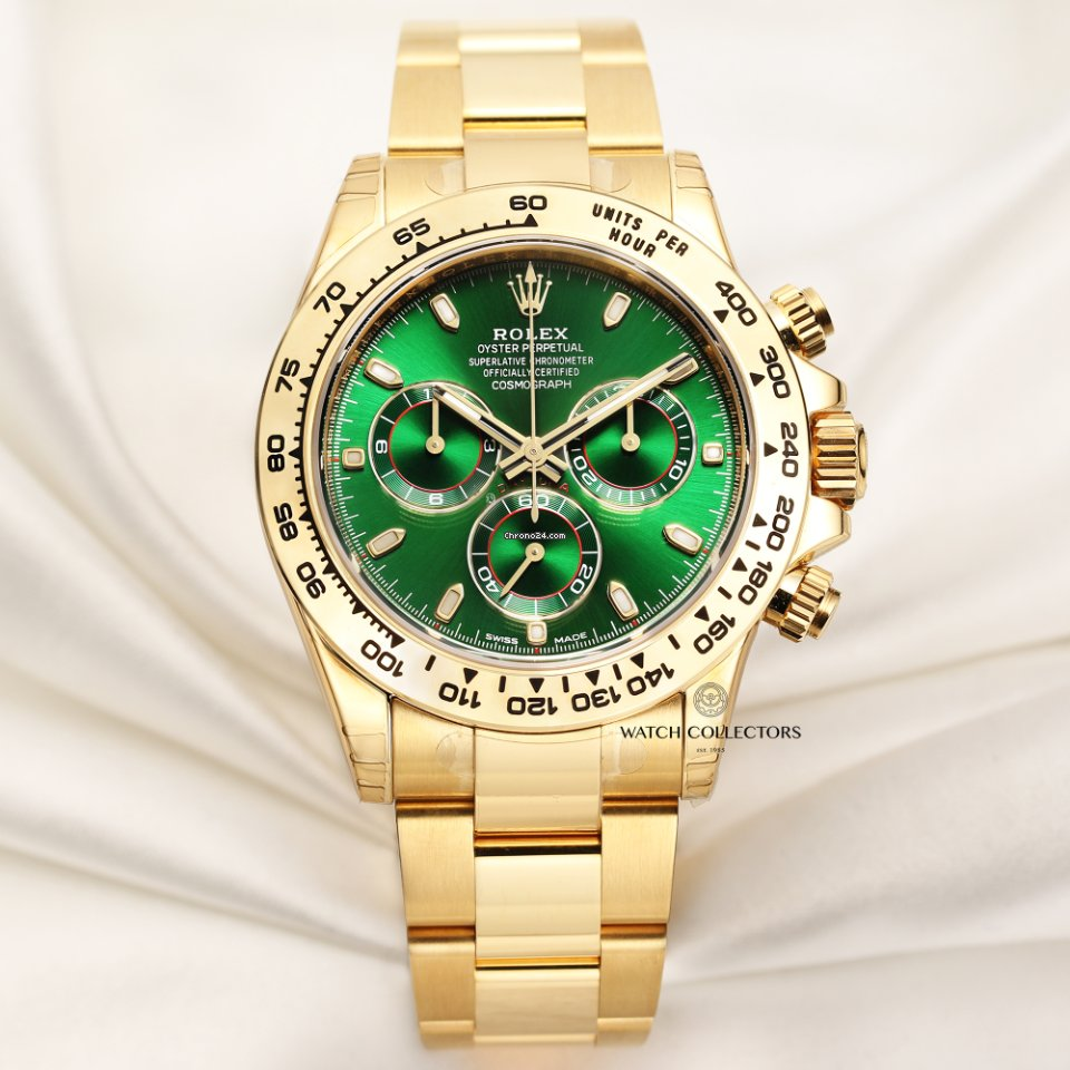 Rolex Unworn Full Set Rolex Daytona Green Dial 116508 18k Yellow Gold