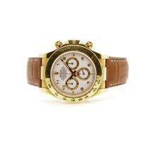 Rolex 116518 Yellow Gold Daytona White Dial Leather Strap