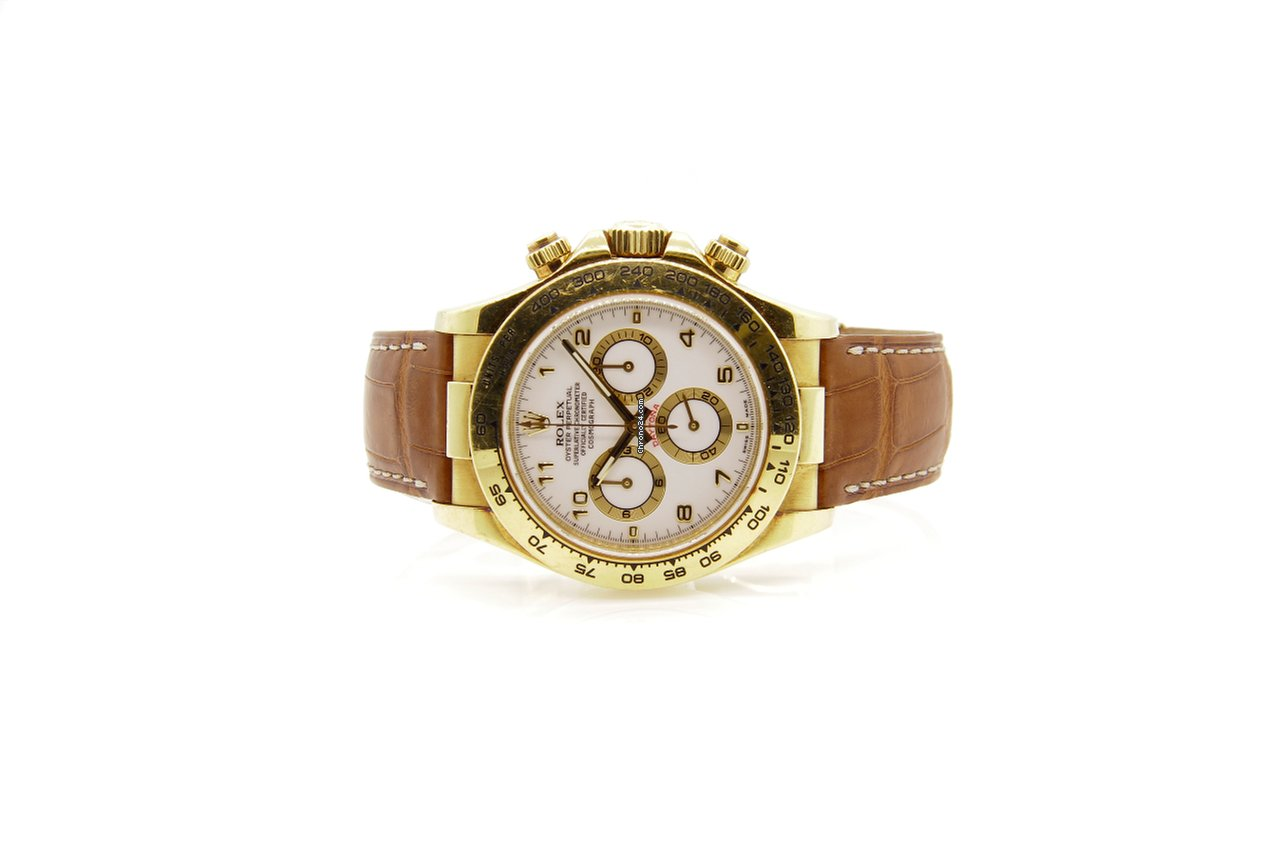 Rolex 116518 Yellow Gold Daytona White Dial Leather Strap For