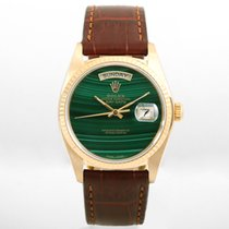 Rolex Day-Date 36 18038-malachite-leather 1980 pre-owned