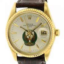 Rolex Oyster Perpetual Date Or jaune 34mm Argent