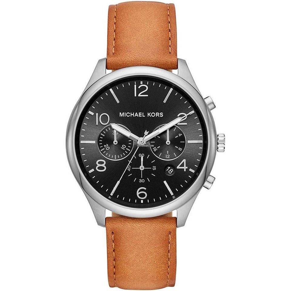 Michael Kors Men's Chrono Watch Merrick Black Dial Brown Leather Strap   MK8661