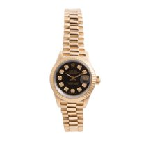 Rolex Ladies 18K Yellow Gold President- Black Diamond Dial -...
