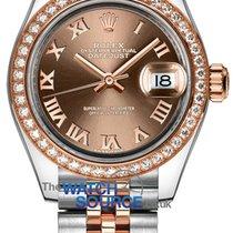 Rolex Lady-Datejust Or/Acier 28mm Brun Romains