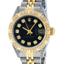 Rolex Datejust Watch SS & 18K Yellow Gold Black Diamond Dial