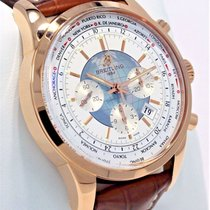 Breitling Transocean Chronograph Unitime occasion 46mm Blanc Chronographe Date GMT Cuir