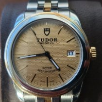 Tudor Glamour Date pre-owned 36mm Black Date Gold/Steel
