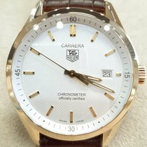 TAG Heuer Yellow gold Automatic White No numerals 38,5mm pre-owned Carrera