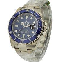 Rolex Unworn 116619 White Gold Submariner with Blue Diamond...