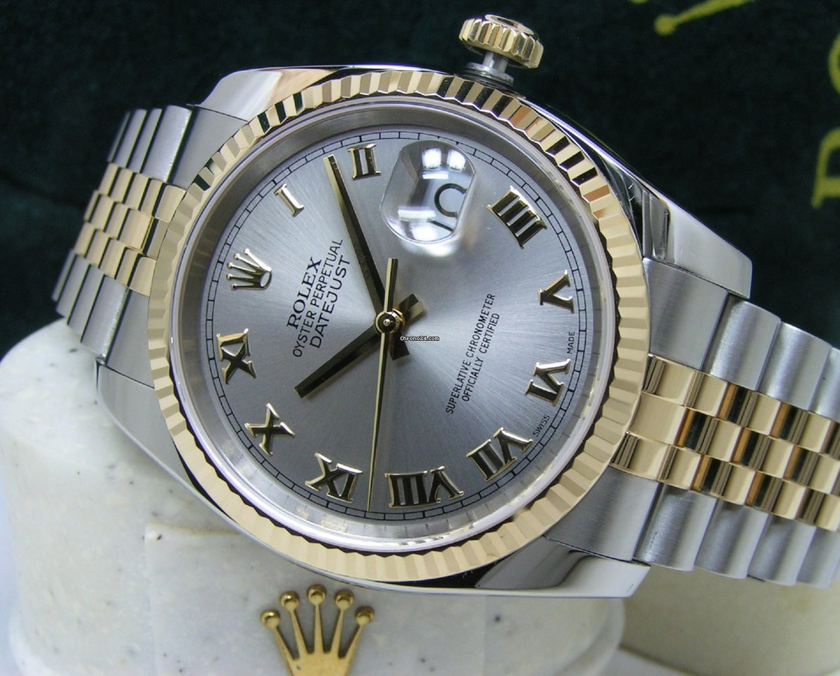 Rolex Men S Rhodium Datejust 36 Slate Roman Dial Ss 18kt Box Books
