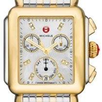 Michele Yellow gold Quartz 33mm new Deco
