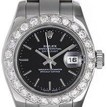 Rolex Datejust Ladies Stainless Steel Watch 179160 Black Dial
