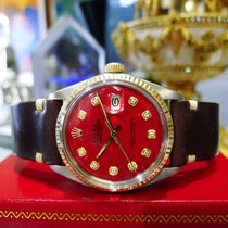 Rolex Oyster Perpetual Datejust Steel Red Diamond Dial Watch C...