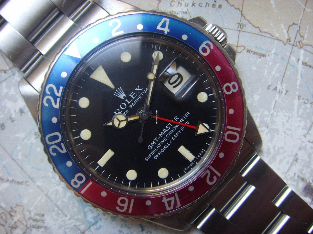 Rolex 1968 Stunning MKI Long E Rolex GMT 1675 Fuchsia Bezel for $20,093 for  sale from a Trusted Seller on Chrono24