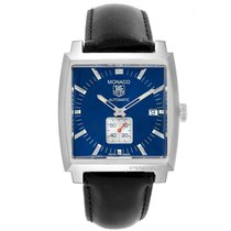 TAG Heuer Steel Automatic Blue 37.5mm pre-owned Monaco Calibre 6
