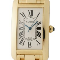 Cartier Tank Américaine pre-owned 27mm Silver Date Yellow gold