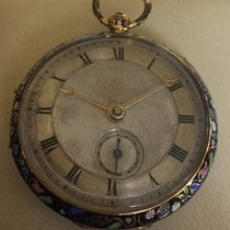 emaille Geneva ca 1800 open face gold  pocket watch