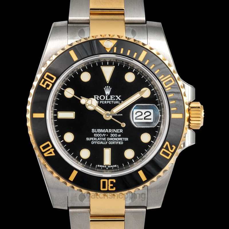 Rolex Submariner 18K Yellow Gold Automatic Black Dial Men\u0027s Watch