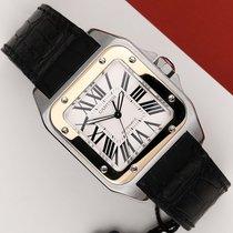 Cartier Santos 100 Золото/Cталь 38mm Cеребро