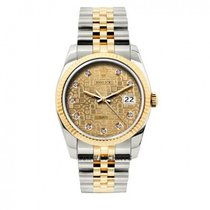 Rolex Date Unisex 34mm Ice Jubilee Dial Stainless Steel And...