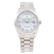 Rolex Platinum Automatic Blue Roman numerals 36mm pre-owned Day-Date 36