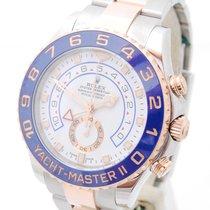 Rolex Yacht-Master II Goud/Staal 44mm Wit Geen cijfers