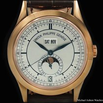 Patek Philippe Annual Calendar pre-owned 38mm Silver Moon phase Date Month Annual calendar Fold clasp