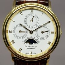 Blancpain Yellow gold Automatic White Roman numerals 34mm pre-owned Villeret Moonphase