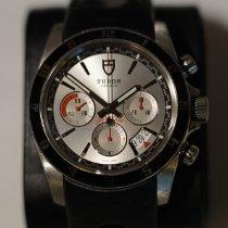 Tudor Grantour Chrono pre-owned 42mm Silver Chronograph Date Leather