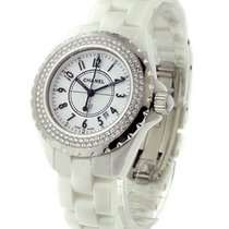 Chanel H0967 J12 H0967 in White Ceramic with 2-Row Diamond...