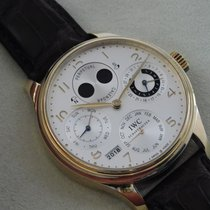 IWC Yellow gold Automatic Silver Arabic numerals 44mm pre-owned Portuguese Perpetual Calendar