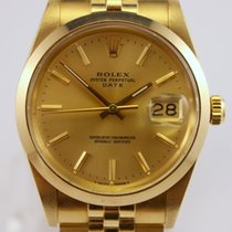 Rolex Oyster Perpetual Date Yellow gold 34mm Silver No numerals United States of America, Massachusetts, West Boylston