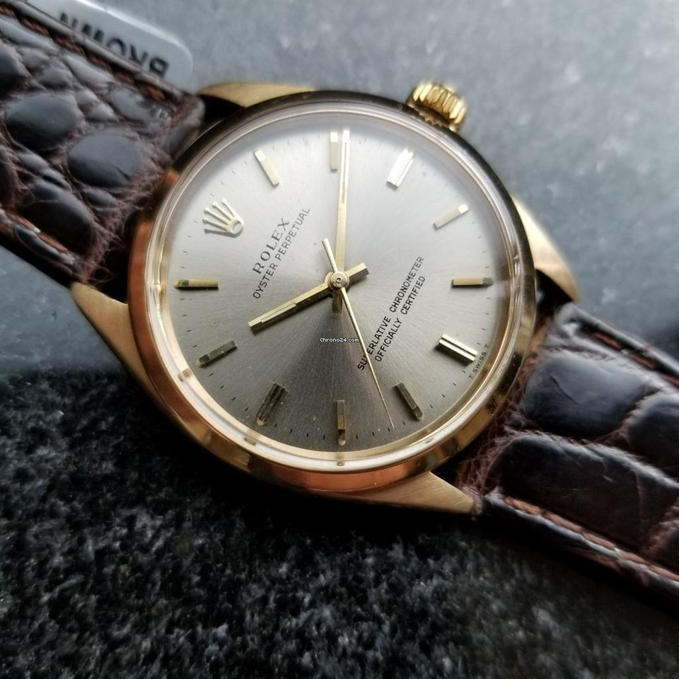 9459048476d Rolex Vintage 1967 Oyster Perpetual 1002 18K Gold Original... for £4,245  for sale from a Trusted Seller on Chrono24