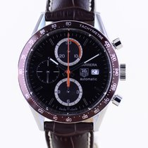 TAG Heuer Carrera Calibre 16 pre-owned 41mm Brown Chronograph Date Tachymeter Leather