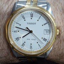 Tissot PR 100 rabljen Bjel Datum, nadnevak Zlato/Zeljezo
