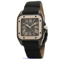 Cartier Titanium Automatic Black Roman numerals pre-owned Santos 100